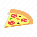 cheese, dinner, food, isometric, italian, pizza, slice icon