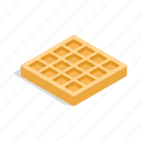 dessert, food, isometric, snack, sweet, wafer, waffles