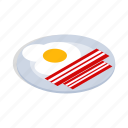breakfast, cooking, eggs, food, isometric, scrambled icon