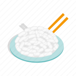 country, gluten, isometric, plate, rice, small, whole icon