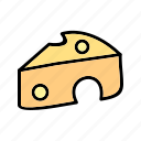cheese, dairy, food, piece, pizza, slice icon