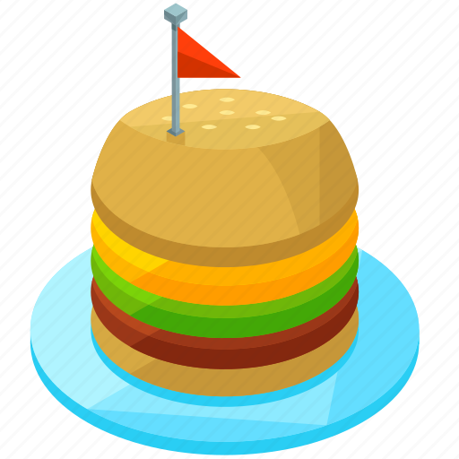 burger, dinner, fast, flag, food, meal icon