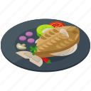 fish, food, meal, mushroom, plate, tomato icon