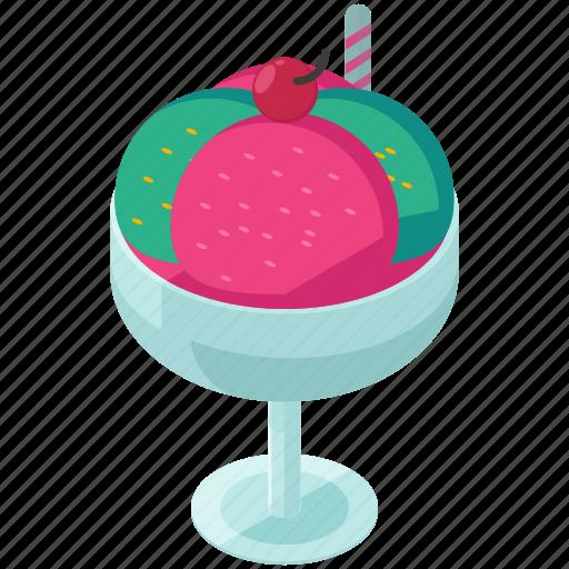 cherry, cream, desserts, food, glass, ice icon