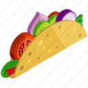 desserts, food, meals, onion, taco, tomato icon