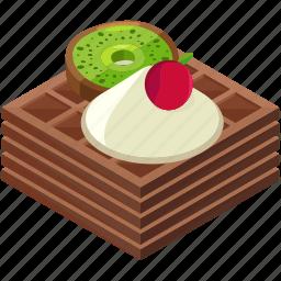 cherry, desserts, food, kiwi, meals, waffels icon