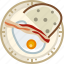breakfast, cooking, dish, egg, food, ham, yumminky icon