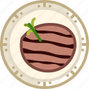cooking, dish, food, grill, meat, steak, yumminky icon
