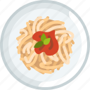 cooking, dish, food, pasta, plate, spaghetti icon
