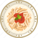 cooking, dish, food, pasta, plate, spaghetti, yumminky icon