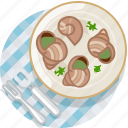food, france, gastronomy, meal, plate, snails, tablecloth icon