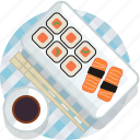 food, gastronomy, japan, meal, plate, sushi, tablecloth icon