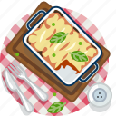 food, gastronomy, lasagne, meal, pasta, plate, tablecloth icon