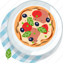 food, gastronomy, lunch, meal, pizza, plate, tablecloth icon