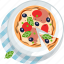 food, gastronomy, lunch, meal, pizza, plate, tablecloth