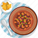 chilli, food, gastronomy, meal, plate, tablecloth, tortillas icon