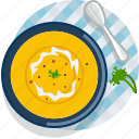 food, gastronomy, meal, plate, pumpkin, soup, tablecloth icon