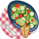 food, gastronomy, meal, plate, salad, tablecloth, vegetable