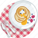 food, gastronomy, lunch, meal, pancake, plate, tablecloth icon