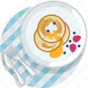 food, gastronomy, lunch, meal, pancake, plate, tablecloth