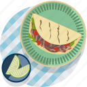 food, gastronomy, meal, plate, tablecloth, tacos, tortilla icon