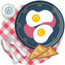 breakfast, egg, food, gastronomy, meal, plate, tablecloth icon