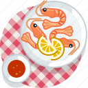 cooking, crevette, food, meal, restaurant, seafood, tablecloth