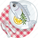 cooking, fish, food, meal, restaurant, tablecloth, tuna