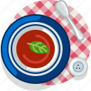 food, meal, restaurant, soup, tablecloth, tomato, yumminky icon