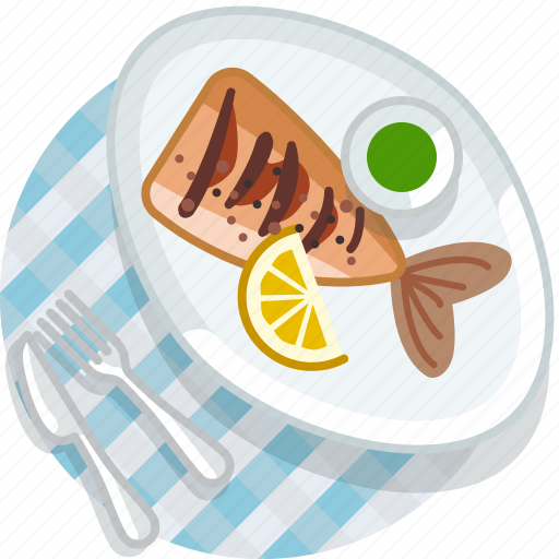 cooking, eating, fish, food, meal, restaurant, tablecloth icon