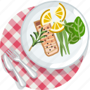 cooking, eating, food, meal, restaurant, salmon, tablecloth
