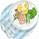 cooking, eating, food, meal, restaurant, salmon, tablecloth icon