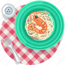 crevette, food, meal, restaurant, seafood, tablecloth, yumminky icon