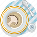 cooking, food, meal, mushroom, restaurant, soup, tablecloth icon