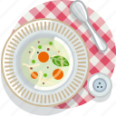 cooking, food, meal, restaurant, soup, tablecloth, vegetable