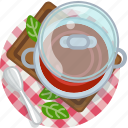cooking, food, meal, restaurant, soup, tablecloth, tomato icon