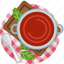 cooking, food, meal, restaurant, soup, tablecloth, tomato