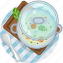 cooking, food, meal, restaurant, soup, tablecloth, vegetable icon