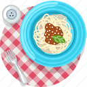 cooking, food, meal, pasta, restaurant, spaghetti, tablecloth icon