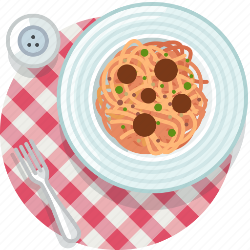 cooking, eating, food, meal, restaurant, spaghetti, tablecloth icon