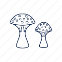 amanita, cooking, mushroom, vegetable icon