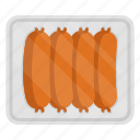 cooking, food, meal, meat, packing, plate, sausage icon