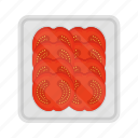 food, meal, packing, plate, slice, tomato, vegetable icon