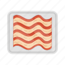 bacon, cooking, food, meal, packing, plate, slice icon