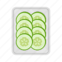 cucumber, food, fresh, packing, plate, slice, vegetable icon