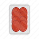 food, meal, packing, plate, salami, sausage, slice icon