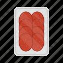 food, packing, salami