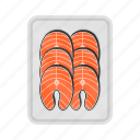 fish, food, meal, plate, salmon, slice, steak icon