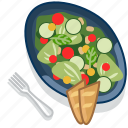 food, gastronomy, meal, plate, restaurant, salad, vegetable icon