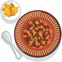 chilli, food, gastronomy, meal, plate, restaurant, tortillas icon